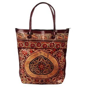 e29b1e1ed3 Image is loading Indian-Shantiniketan-Genuine-Leather-Shoulder-Bag-Batik- Tote-