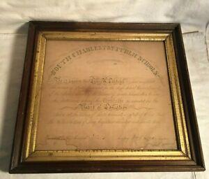 RARE-framed-High-School-DIPLOMA-1874-South-Charleston-OHIO-Lizzie-Landaker