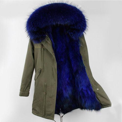 Women Large Real Raccoon Fur Collar /& Lined Coat Winter Long Parka Warm Jacket
