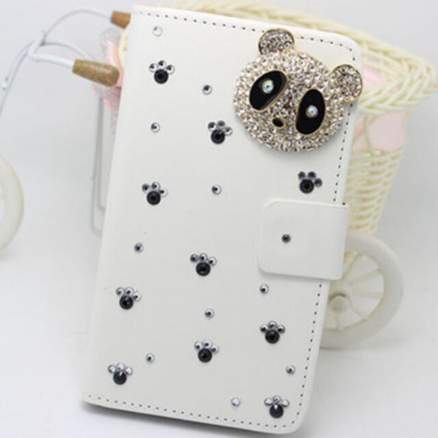 Bling Panda Wallet Card Holder PU Leather Flip Case Cover for Nokia phone U