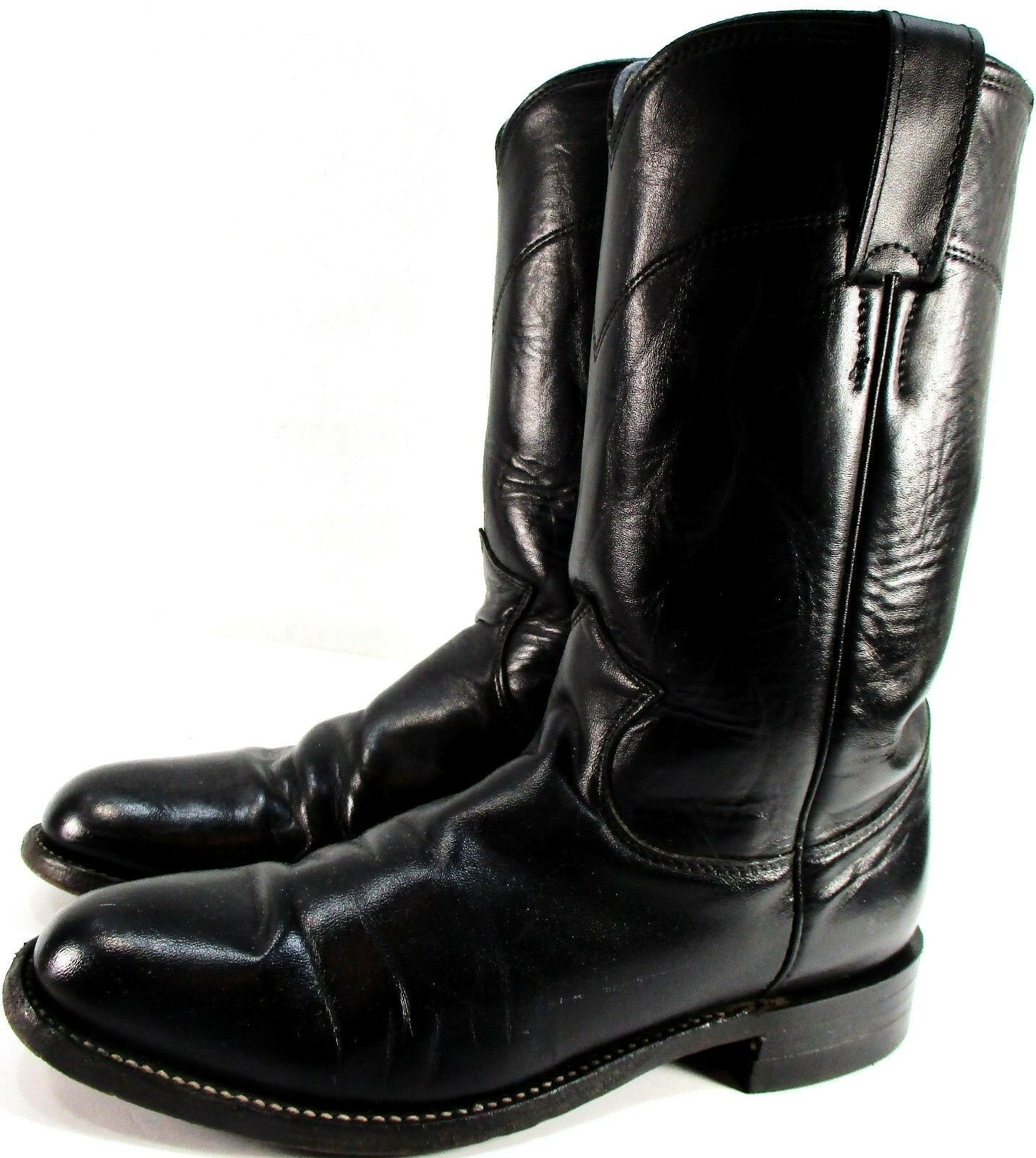 Justin Men Western bottes noir Taille 5.5 Style 3703 Semelle en Cuir Semelle intérieure Doubleure
