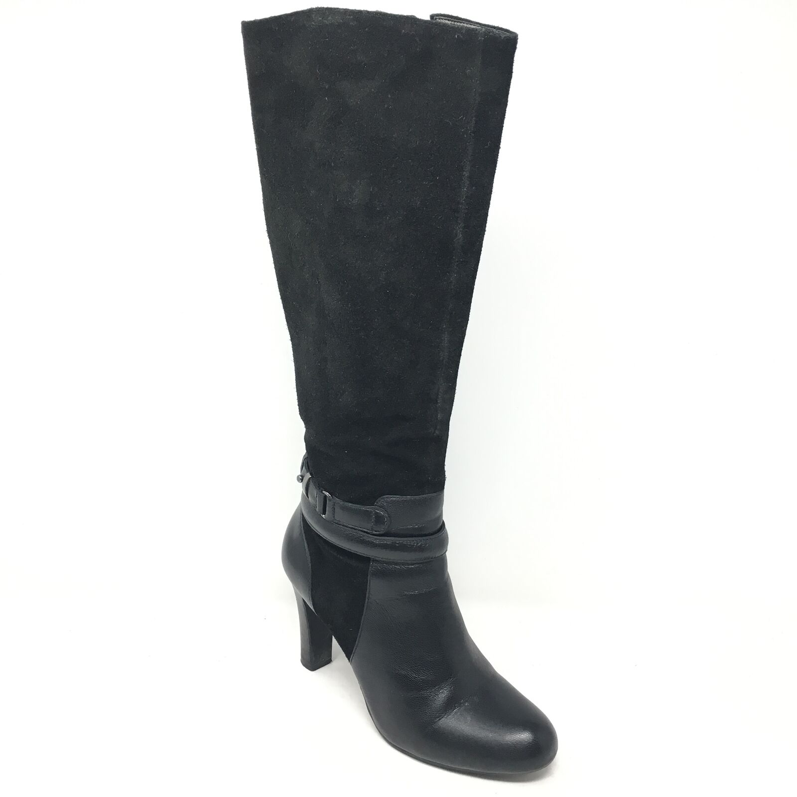Women's Talbots Knee High Boots shoes Size 5.5B Black Suede Zip Up Stretch C6