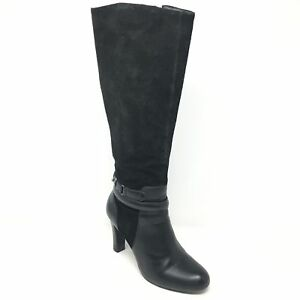 Women-039-s-Talbots-Knee-High-Boots-Shoes-Size-5-5B-Black-Suede-Zip-Up-Stretch-C6