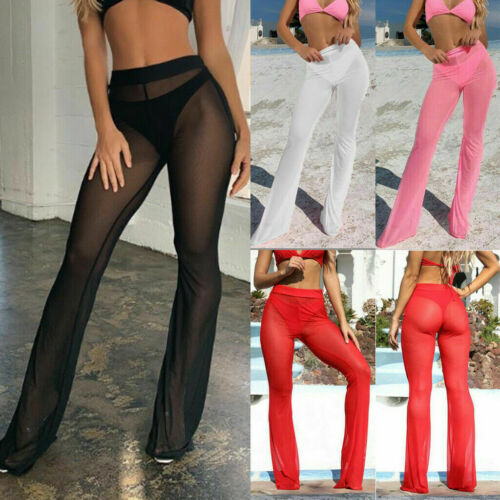 US Womens Beach Mesh Sheer Ladies Bikini Cover Up Flared Wide Leg Pants  Trouser