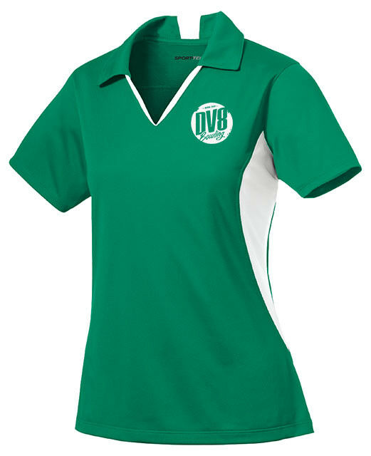 DV8 Women's FreakShow Performance Polo Bowling Shirt Dri-Fit Green White