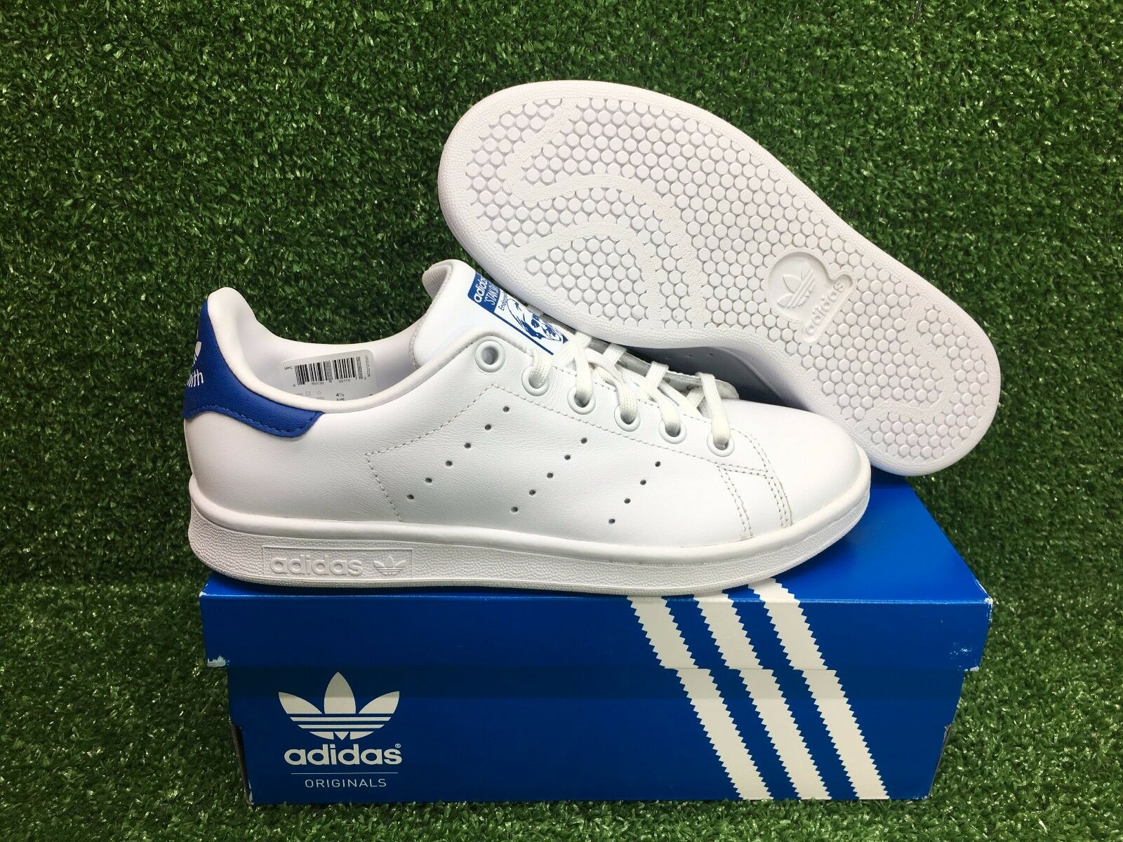 NEW ADIDAS ORIGINAL STAN SMITH J YOUTH GRADE SCHOOL WOMEN SHOES WHTE/BLUE  S74778