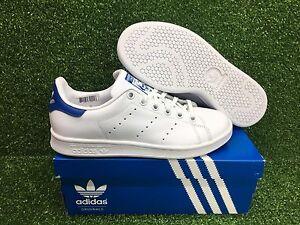 Nuove adidas stan smith j gioventù originale della scuola elementare di scarpe whte / blu