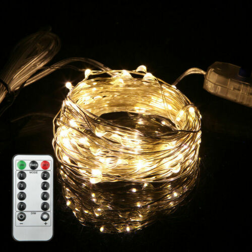 XMAS Tree 200 LED USB String Fairy Xmas Lights Copper Wire Waterproof Remote UK
