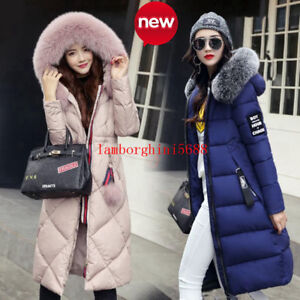 NEW-Winter-Women-039-s-long-Down-Cotton-Parka-Fur-Collar-Hooded-Coat-Quilted-Jacket