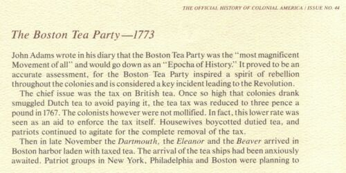 HISTORY OF COLONIAL AMERICA 44 The Boston Tea Party 1773