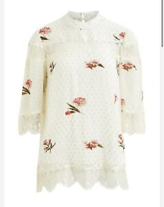 Vila Cream Spotted Floral Blouse Lace High Neck Sheer Top 3/4 Sleeves Size 10