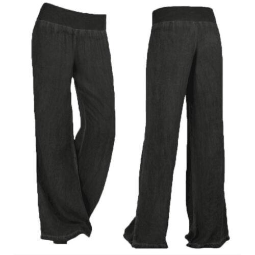 Women Wide Leg Pants Loose Yoga Long Palazzo Jeans Casual Lounge Wear Trousers