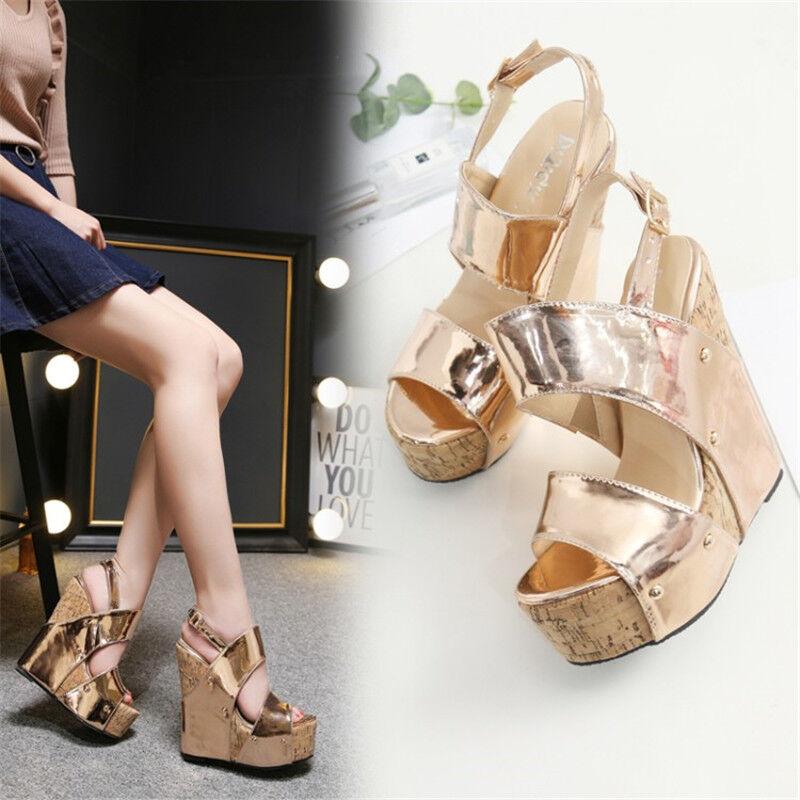 6    Tacones altos para mujer Peep Toe Platform Wedge Zapatos Club nocturno Fiesta Zapatos  ventas en linea
