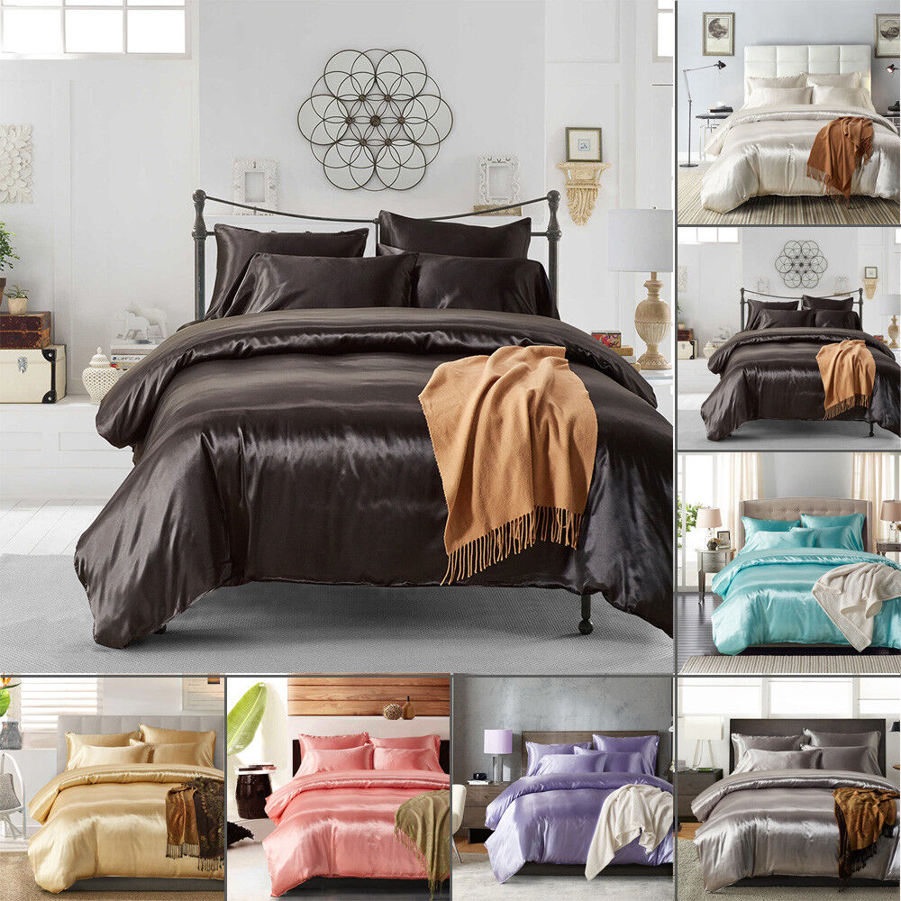 1800Count Ice Silk Satin King Queen Twin Quilt Cover Set Fitted no Bed Sheet New