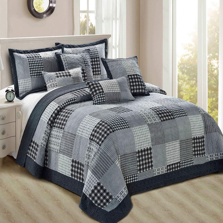 Luxury Patchwork Super King Größe Bedspread Comforter Set & Pillow Sham 255x275cm