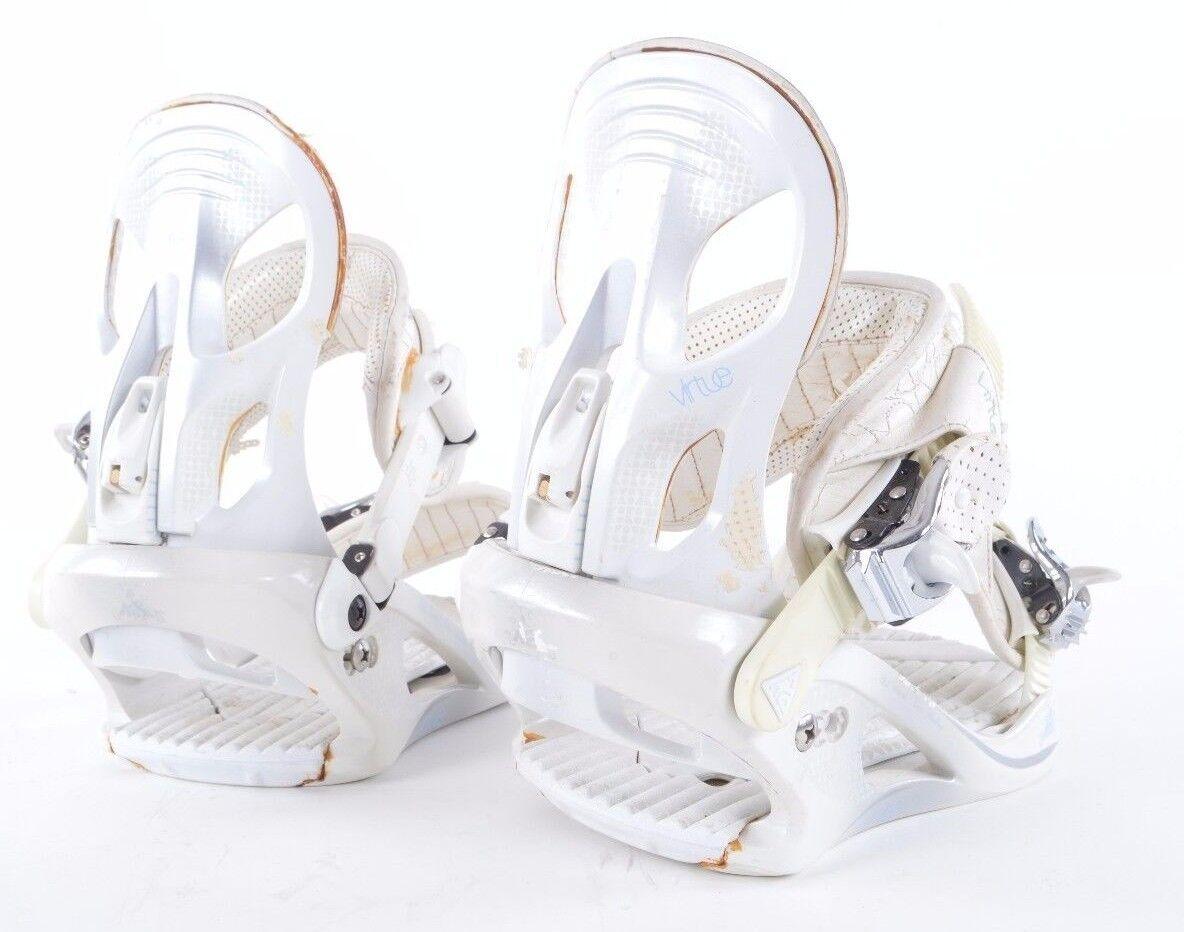 2008 WOMENS K2 VIRTUE SNOWBOARD BINDINGS  160 S White lightweight USED