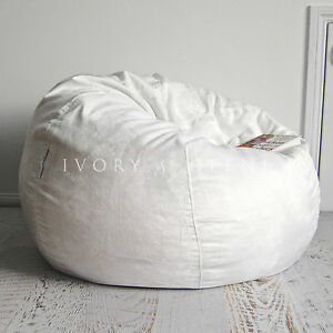 Fur Beanbag Cover Soft Ivory Cream Velvet Cloud Chair Bean