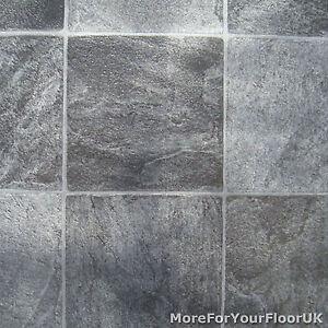 Grey stone tile vinyl flooring kitchen bathroom lino ebay for Industrial stone vinyl tile