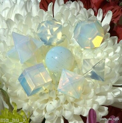 Opalite Sacred Geometry 7 Piece Set with Merkaba Star - Free & Fast Shipping