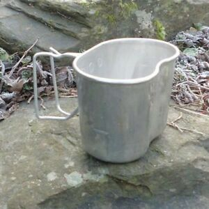 FRENCH ARMY ALUMINIUM MUG FOLDING HANDLE MESS TIN CANTEEN CUP CAMPING MILITARY
