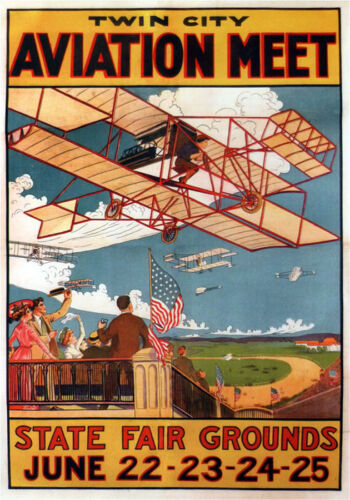 Airplane Plane Aviation Meet Twin City State Fair Vintage Poster Repro FREE SH