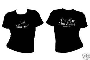 PERSONALISED-WOMENS-JUST-MARRIED-T-SHIRTS-WEDDING-HEN-GIFT-SIZES-XS-XXL