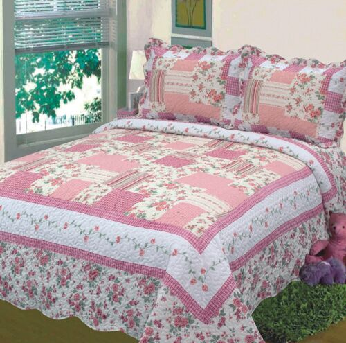 King Bedspread Bed Cover Floral Off White Pink New Fancy Linen 3pc Queen