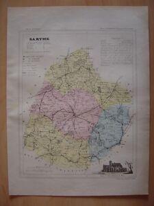Carte Départementale De La Sarthe C1880 Le Mans La Flèche Mamers Saint Calais Dyw7vfsj-08003447-525800465
