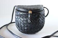 Vintage BOTTEGA VENETA INTRECCIATO Black MINI CREEL X BODY BAG HANDBAG PURSE