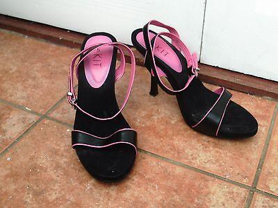 Kit Moldura Rosa Negro Con Tiras Puntera Abierta Correa De Tobillo Sandalias Zapatos Tacón Stiletto - 5