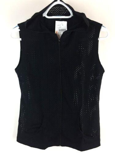 Sleeveless Mesh Top Active Hoodie Gym Vest Brazilian Jacket Womens XS-S-M