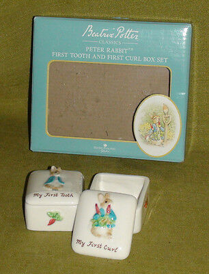 Baby My First Tooth & Curl Porcelain Boxes Mild And Mellow Useful Peter Rabbit/jemima Puddle Duck