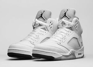 2015 Nike Air Jordan 5 V Retro White Metallic Silver Size 7.5 136027-130 1 2 3 4
