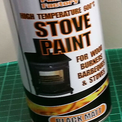 1200ml Black High Temp Spray Paint. Log Burners, BBQ. 3 Tins