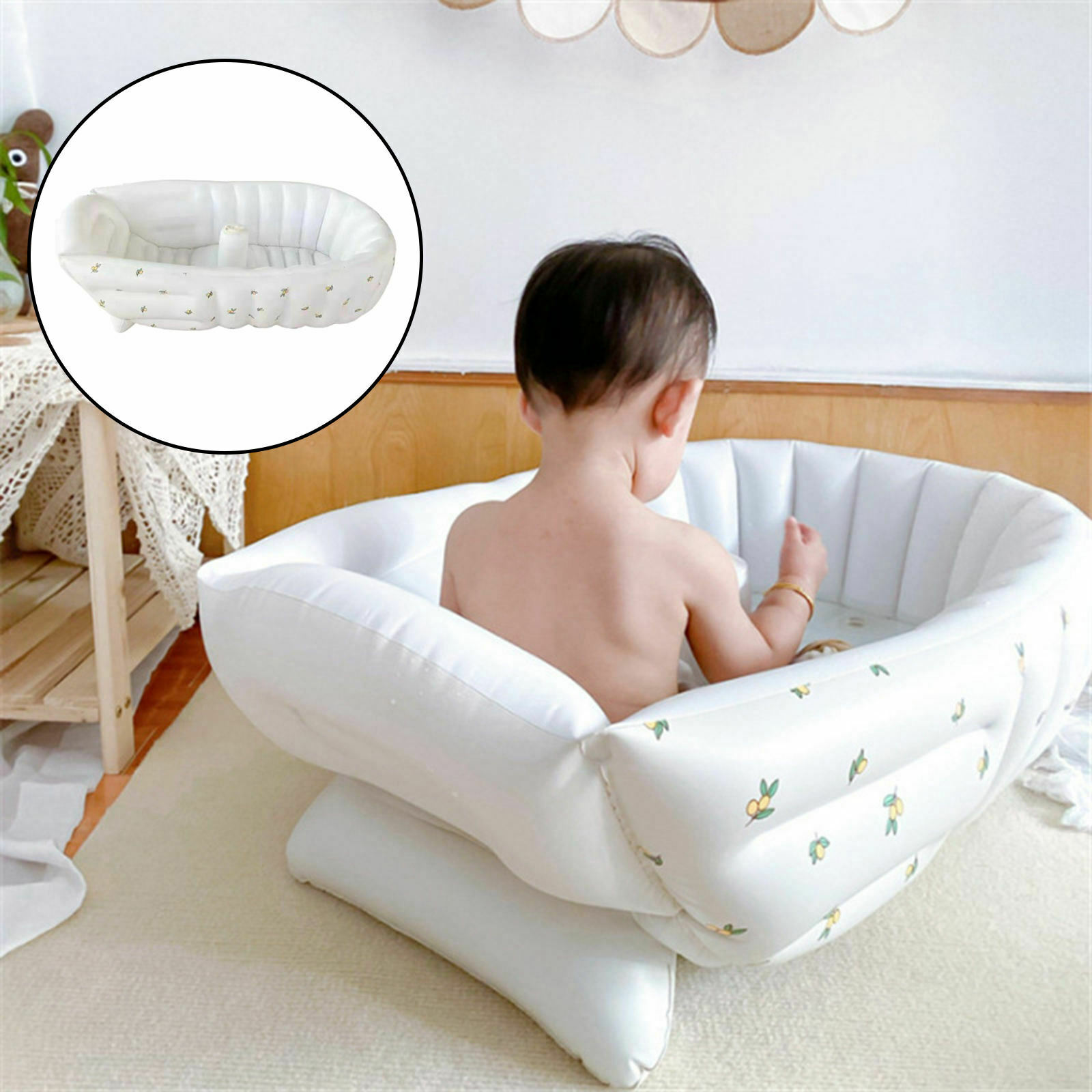 Inflatable Bathtub Foldable Seat Water Release. convenient Basin for Kiddie