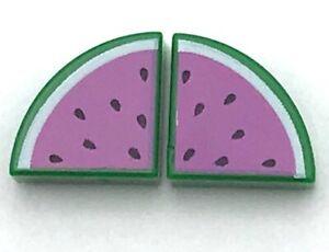 Lego New 2 Green Tiles Round 1 x 1 Quarter with Dark Pink Watermelon Pattern
