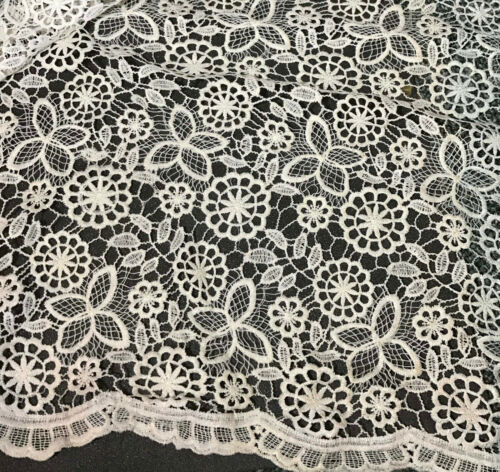 "Ivory /& Metallic Gold Groovy 60/'s Floral LACE Fabric 45/"" by the yard"