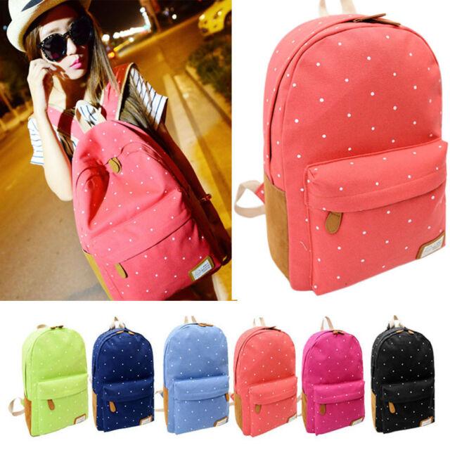 Women Canvas Rucksack Polka Dot Backpack School Bookbag Shoulder Bag Travel Bags