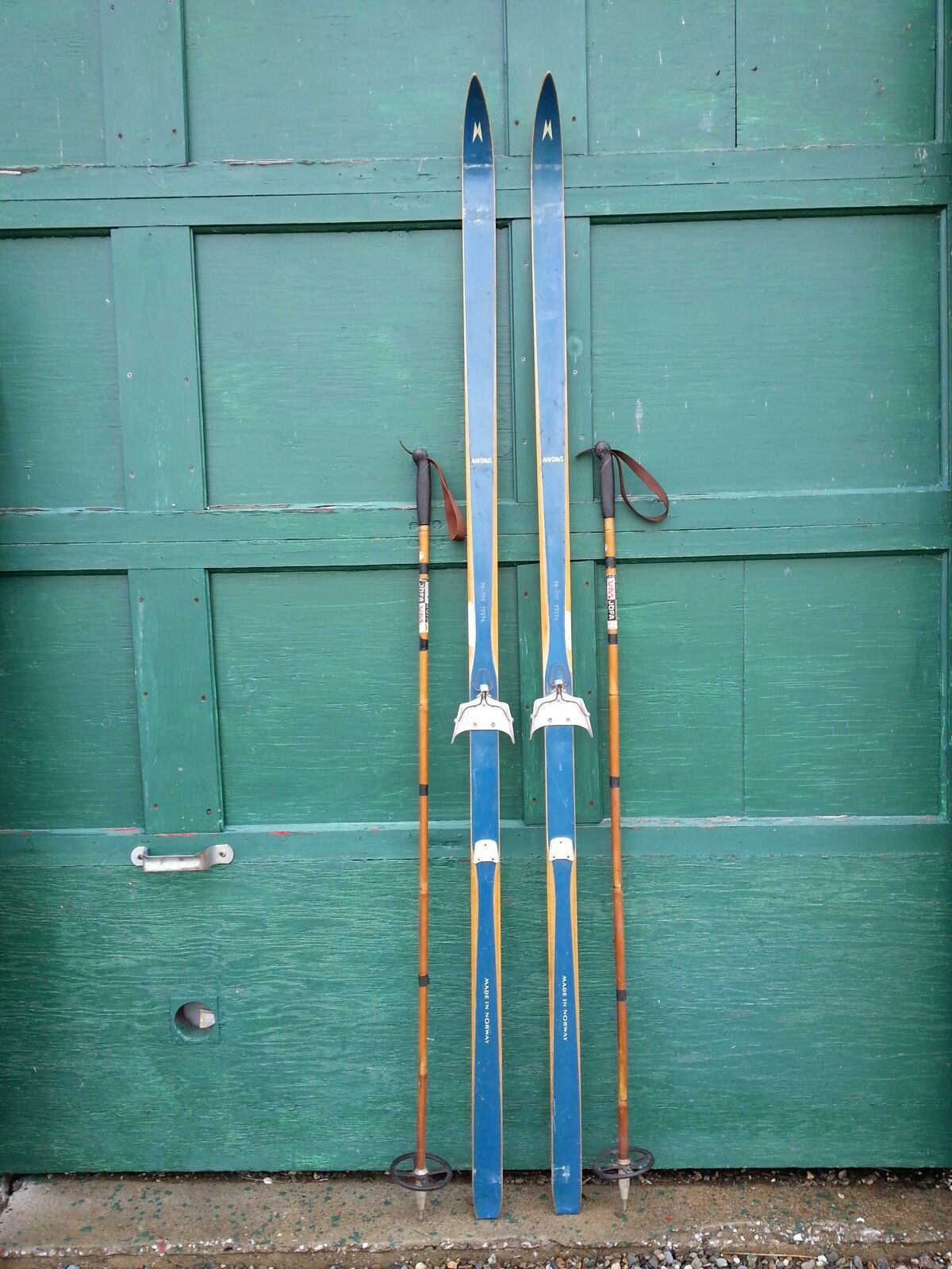 VINTAGE Wooden 79  Skis Has  bluee Finish Signed MADSMUS + Bamboo Poles