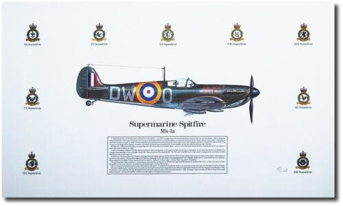 Aviation Art Supermarine Spitfire MK-1a by Mike Wooten Spitfire MK-1a