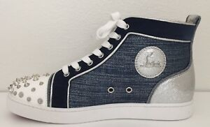 new style b35d1 bbbf8 Details about Christian Louboutin LOU Degra Spikes Stud Denim Hi High Top  Sneakers Shoes $995