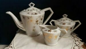 Lefton-China-Tea-Pot-Creamer-Sugar-w-Lid-Vintage-Handpainted-Gold-Floral-MCM