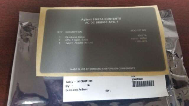 Agilent 85027A Contents Label NEW!