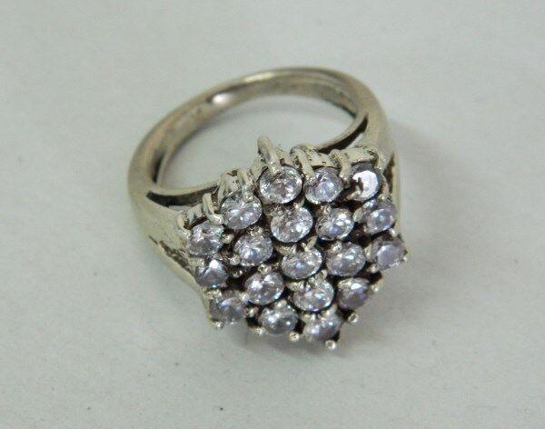 Anello in silver 925 con pietre bianche vintage OMA19