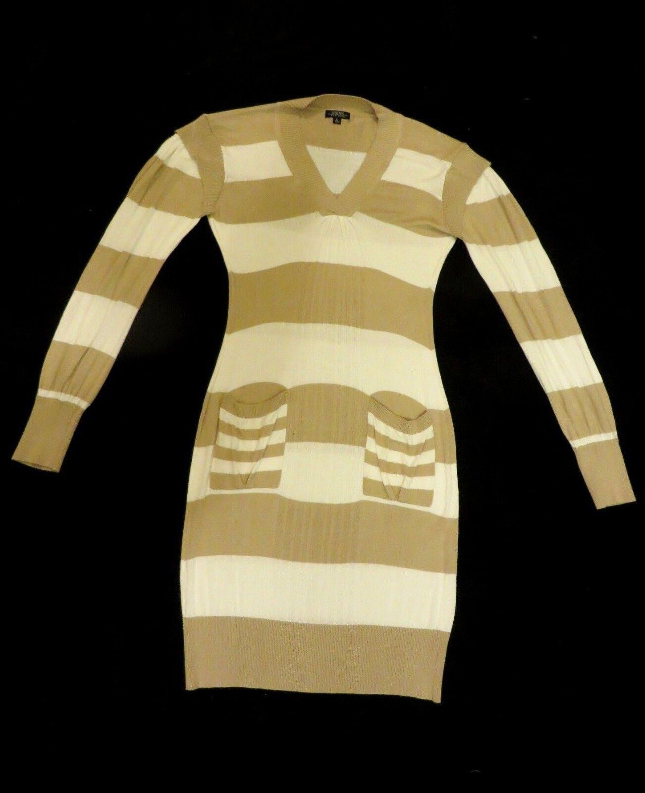 Shine New York Designer Cream Beige Striped Fine Knit Jumper Sweater Dress 12-14