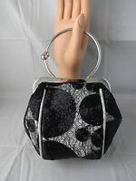 Silver Black Net Evening Handbag Handle Shoulder Chain Year's Eve