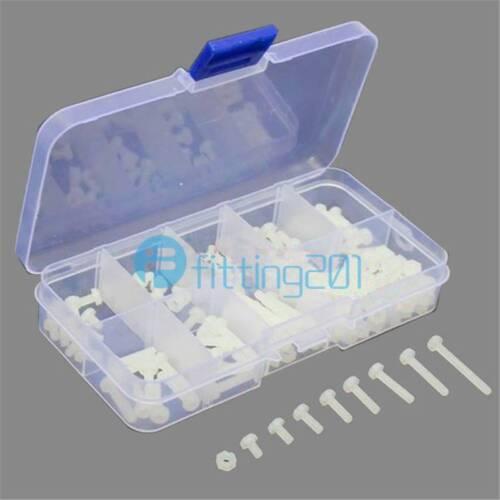 160Pcs White Metric M3 Assortment Stand-off Nylon Screws Bolt /& Nuts Kit 8 Sizes