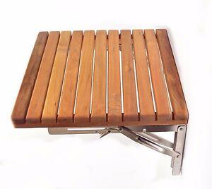 teak 15 x 16 fold down shower bench wall mounted stool seat 38cmx40cm ebay. Black Bedroom Furniture Sets. Home Design Ideas