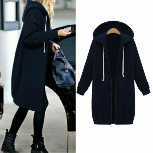 Size UK Women Long Sleeve Zip Up Hooded Hoodie Jacket Jumper Cardigan Coat Plus