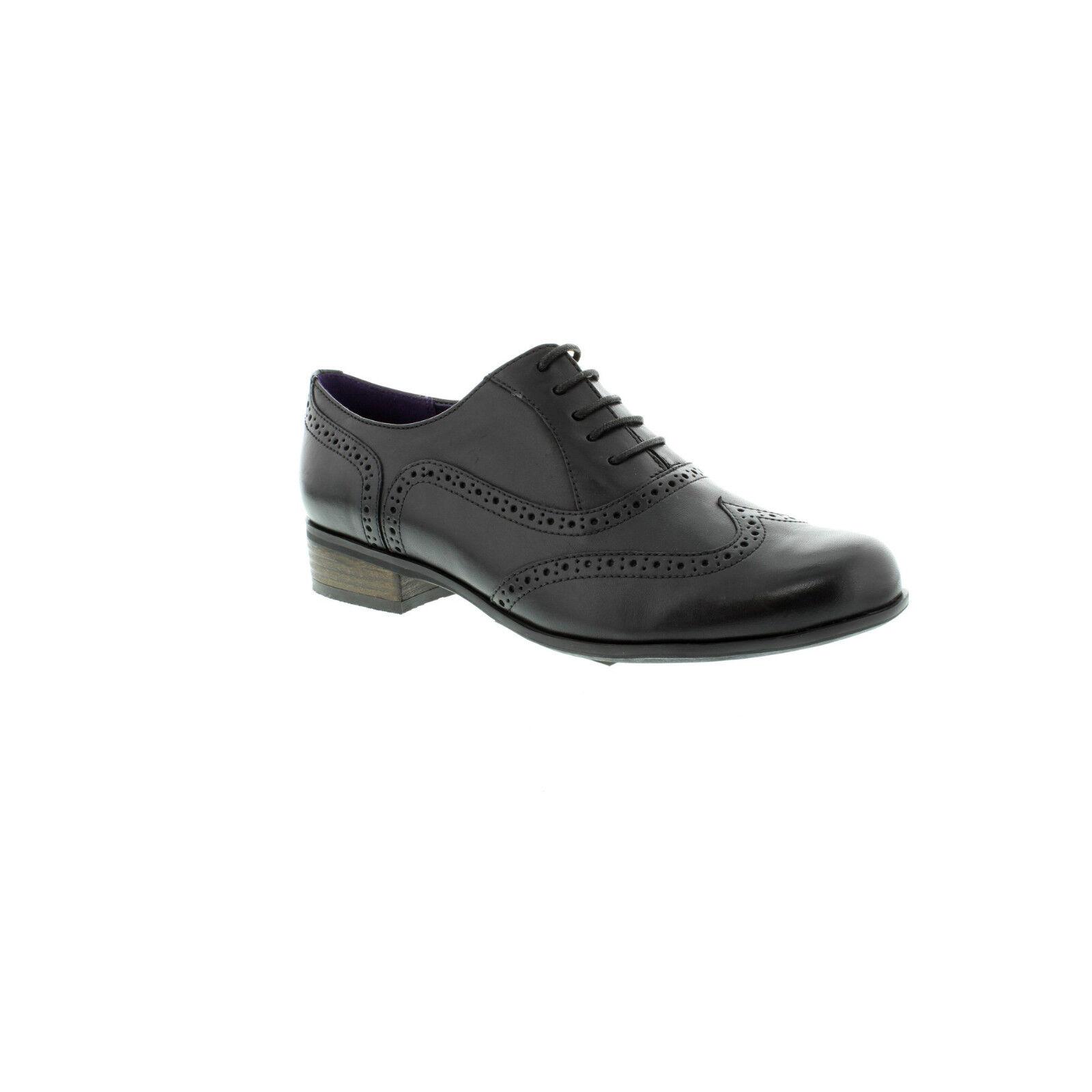 Clarks Femmes Hamble Oak Noir Décontracté Chaussures Cuir à Lacets